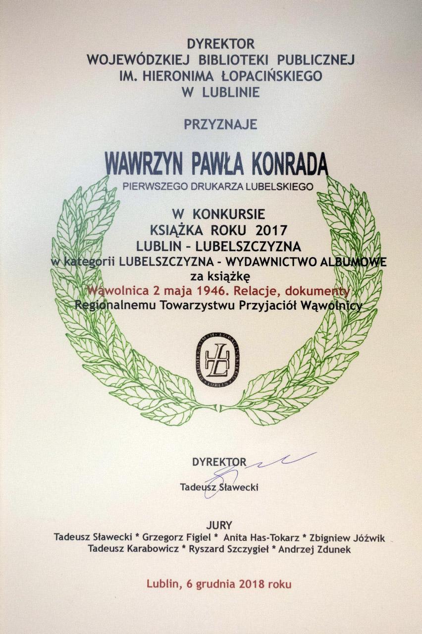 Książka roku 2017 - dyplom